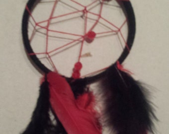 Red and Black Lady Bug Dream Catcher