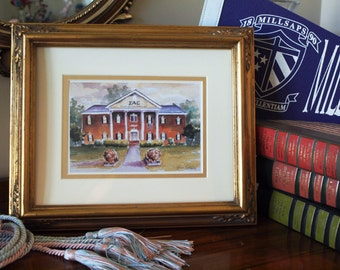 Sigma Alpha Epsilon Millsaps College house, Mississippi Delta Chapter SAE fraternity watercolor print, by Anna Nations