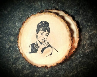 Audrey Hepburn Natural Wood Coasters set of 2