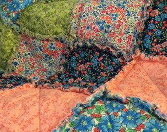 Floral Rag Quilt - Blue, Peach, Green - Throw Rag Quilt - Handmade - Ready to Ship