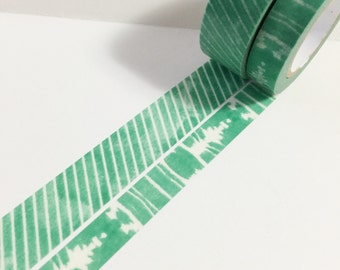Set of 2 Green Watercolor Washi Tape 15mm x 10m Watercolor Stripes 10mm x 10m Watercolor