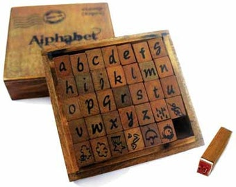 Wood alphabet  stamps - lower case