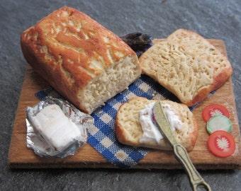 Bread with cut - Dollhouse / miniature polymer clay
