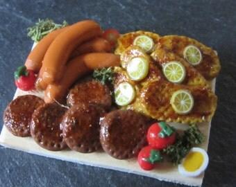 Sausages steak & meatballs - Dollhouse / miniature polymer clay