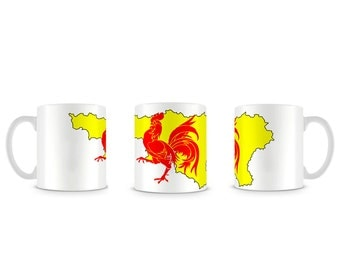 Cool Wallonia Wallonie Flag and Map Drapeau et Carte Mug M835