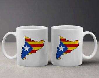 Cool Catalonia Catalunya Cataluna Flag and Map Bandera y Mapa Mug M837