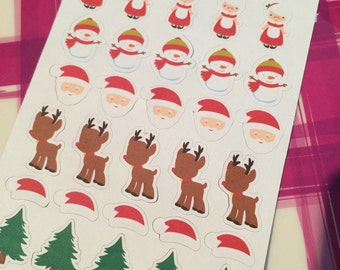 Santa Claus, Mrs. Claus, Snowman, Rudolph the Red Nose Reindeer, Santa Hat Planner Sticker set of 35