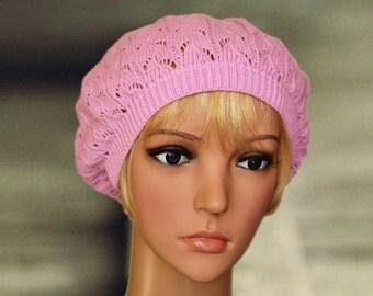 Pink lace beret, Knit lace beanie, Crochet fall beret, Handknit wool beret, Beret beanie hat cap, Feminine knit beret, Lace slouchy hat