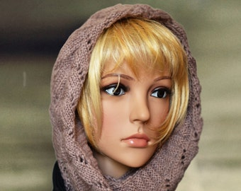Warm cowl hood, Women's wool scarf, Chunky wool snood, Hooded scoodie cowls, Wool neckwarmer, Knitted warm hoodie, Womens hooded scarf