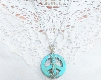 Turquoise Pendant-Tree Of Life Peace Sign Necklace-bohemian jewelry-gifts for her
