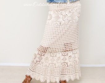 Crochet Skirt Pattern - Maxi Lace Skirt - Tiered Boho Hippie Summer Skirt - Small, Medium, Large, Extra Large Sizes - PDF Pattern