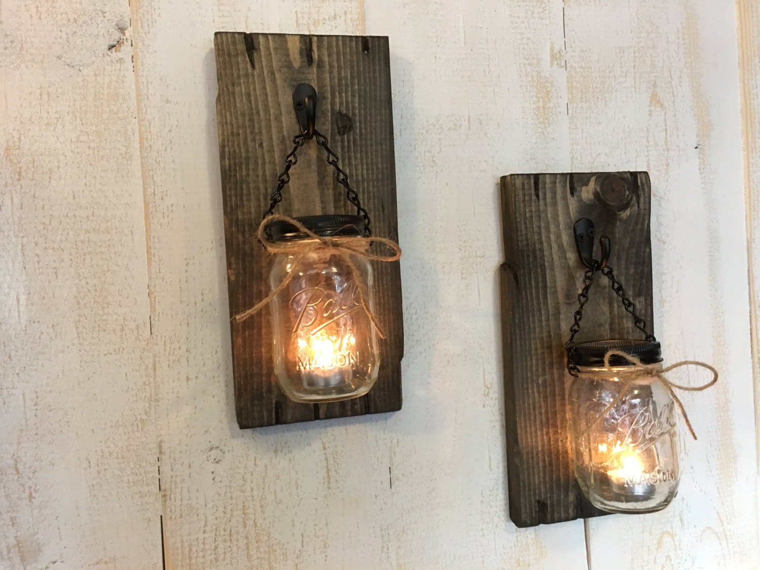 Rustic Wall Sconces For Candles : Candle holders, Rustic candle holders, Candles, Mason jar candles, Candle decor, Wall Sconces ...