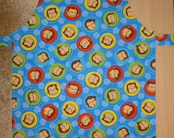 Apron for kid / Curious Georges, apron, kids apron, kitchen apron, kids kitchen apron