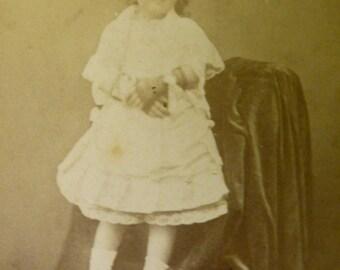 Original CDV 1870. Little girl with mittens