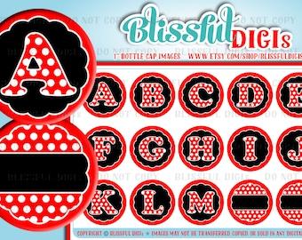 "Alphabet Letters 1"" Circle/Round Bottle Cap Images - Red/Black Polka Dot- INSTANT DOWNLOAD #101"