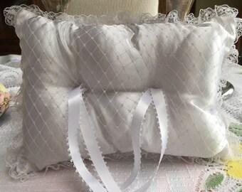 White Wedding Ring Bearer Pillow, Handmade stuffed pillow