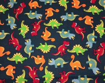 Dinosaurs Navy Blue Orange Green Apparel Quilting 100% Cotton Fabric FULL Yard