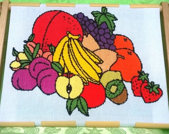 "Finished embroidery ""Fresh fruits"", Home decor, Gift, Finished cross stitch"
