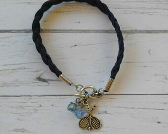 Tennis Charm Bracelet// Custom Girl's Sports Bracelet// Tennis Gift// Tennis Mom// Tennis Coach// Choose Cord & Crystal Color