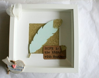Hope Is The Thing With Feathers, Framed Feather, Gold Glitter Feather