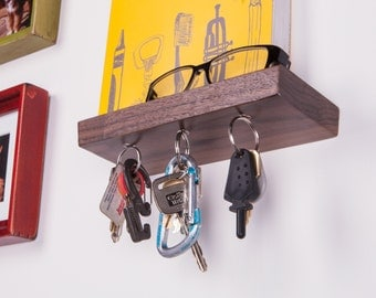 """Rackless – 8"""" floating shelf and magnetic key rack, made from solid Oak or Black Walnut"""