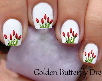 1057 Flower Waterslide Nail Art Decals Enough For 2 Manicures