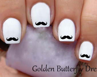 Mustache nail art etsy 1109 mustache water slide nail art decals enough for 2 manicures prinsesfo Choice Image