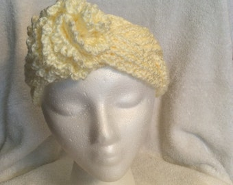 Off-white reversible braided headwrap/earwarmer with detachable flower