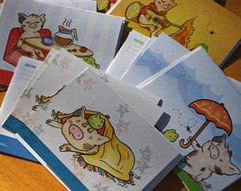 Cute Little Pig Japanese Kawaii Style Piggy Stationery Set