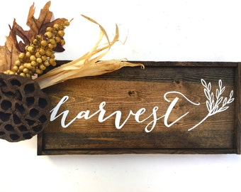 Harvest Fall Decor Handcrafted Wooden Sign