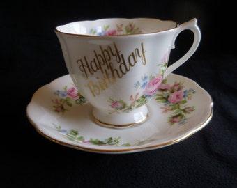 "Vintage Royal Albert Bone China ""Happy Birthday"" Cup and Saucer"
