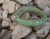 Light Green Crochet Beaded Bracelet with Swarovski Crystals