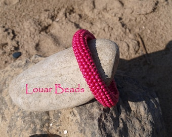 Fuschia Crochet Beaded Bracelet