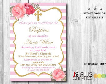 INSTANT DOWNLOAD Floral Baptism Invitation Girl, Christening Invitation Girl, Baby Dedication, Printable Instant Download, DIY Editable pdf