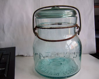 Vintage Atlas E Z Seal 1 Pint Canning Jar Aqua Glass - Squatty Shape