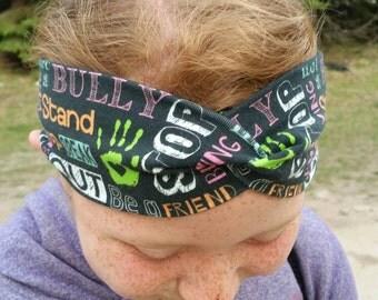 Anti bully - boho headband - women's turban headband - workout headband - yoga headband - twist headband - head wrap - gift for her