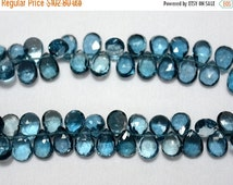 ON SALE 40% London Blue Topaz Cut Pear, Faceted Pear, Blue Topaz Briolettes, 6x8mm Approx, 16 Pieces, A++