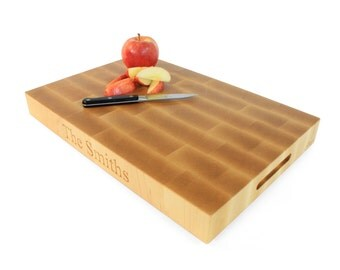 """2"""" Personalized Maple End Grain Cutting Board with Handles"""