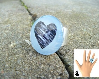 Ring blue heart, 25mm
