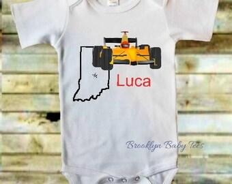 Indy Racing Onesie, Indianapolis Onesie, Personalized Racing Onesie, Indy 500 kids clothes, Racing Onesie, Car Racing Onesie, Indy Racing
