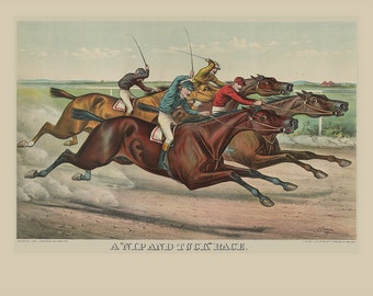 Nip and Tuck Race Wall Art Print - Currier and Ives Wall Art Print - Horse Racing Art Print -Vintage Horse Race Print