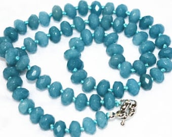Lovely 6mm rondelle knotted raw aquamarine necklace 18""