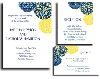 25 Blue Yellow Chrysanthemum Wedding invitations RSVP and Reception cards