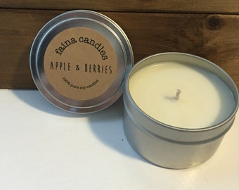 Apple & Berries | Soy Candle | 6 oz | Natural | Hand-Poured