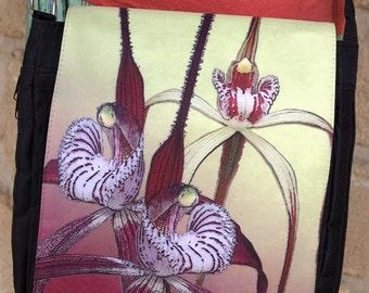 Chapman Orchids Media bag, Messenger Bag, cross shoulder carry all, hand bag, Wild Art Images.