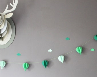 Garland of 6 hot air balloon 3 D on coated cotton - baby shower