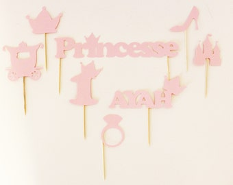 8 toppers for decorating a birthday cake - Princess theme