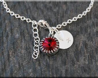 Silver Garnet January Birthstone Bracelet, Initial Charm Bracelet, Personalized Bracelet, January Birthstone Charm. Swarovski Garnet charm