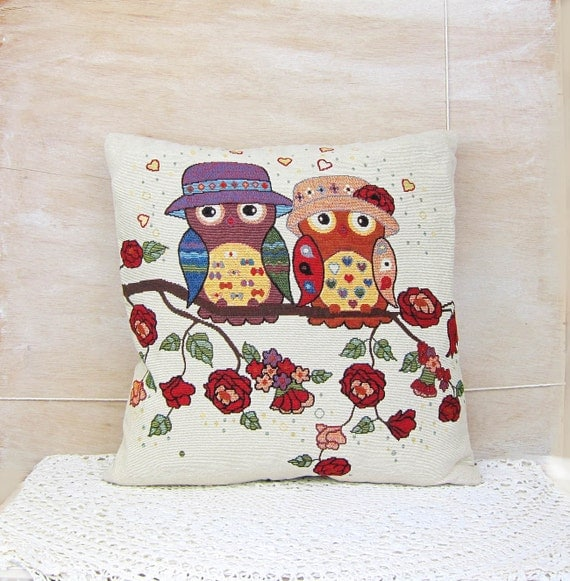 Owl Throw Pillow Covers : Owl Love Pillow Cover Owl Tree Throw Pillow by DidiRaDesigns