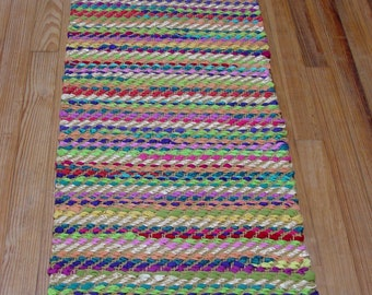 "Handwoven Rag Rug, Yoga Rug, ""Tropical Flowers"""